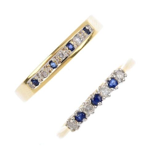 433 - Two 18ct gold sapphire and diamond rings. Each designed as an alternating sapphire and diamond line....
