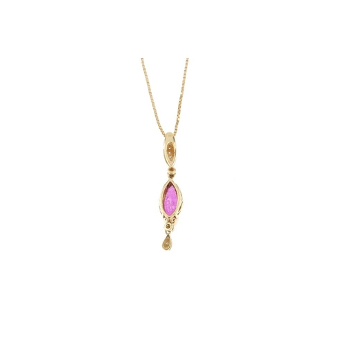 434 - An 18ct gold glass-filled ruby and diamond pendant. The marquise-shape glass-filled ruby, suspending...