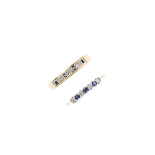 436 - Two 18ct gold sapphire and diamond rings. The first designed as an alternating sapphire and diamond ...