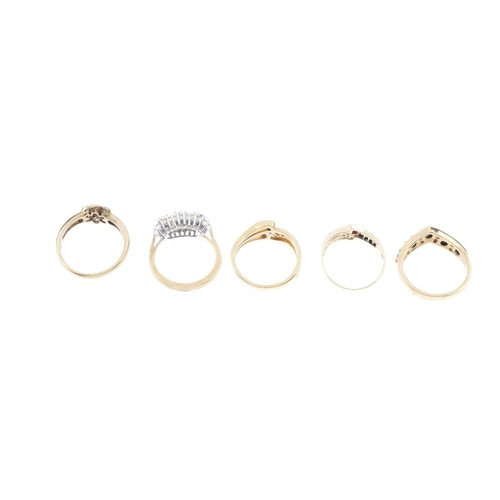 443 - Five 9ct gold diamond and gem-set rings. To include a ruby, sapphire and diamond dress ring, a sapph...