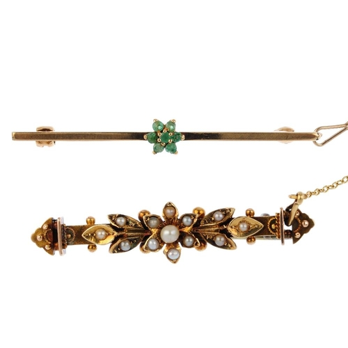 448 - Three gem-set bar brooches. To include a late Victorian gold seed and split pearl floral bar brooch,...
