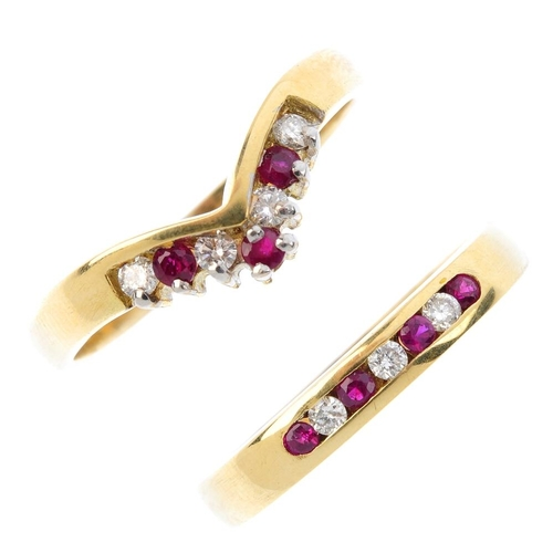 45 - Two 18ct gold ruby and diamond rings. To include an alternating circular-shape ruby and brilliant-cu...