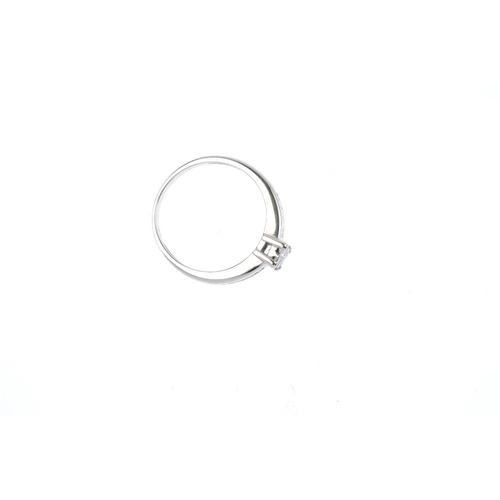 451 - A diamond dress ring. The square-shape diamond quatrefoil, with brilliant-cut diamond line shoulders...