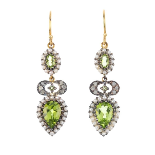 452 - A pair of peridot, split pearl and diamond earrings. Each designed as a pear-shape peridot and split...