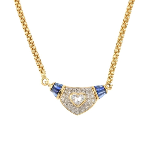 455 - A topaz, diamond and sapphire necklace. The heart-shape topaz collet, with single-cut diamond and ta...