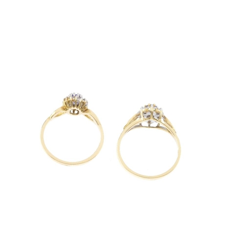 457 - Two 18ct gold diamond and tanzanite cluster rings. Each designed as an oval-shape tanzanite and diam...