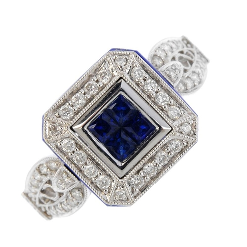 462 - A sapphire, diamond and lapis lazuli cluster ring. The square-shape sapphire cluster, with lapis laz...