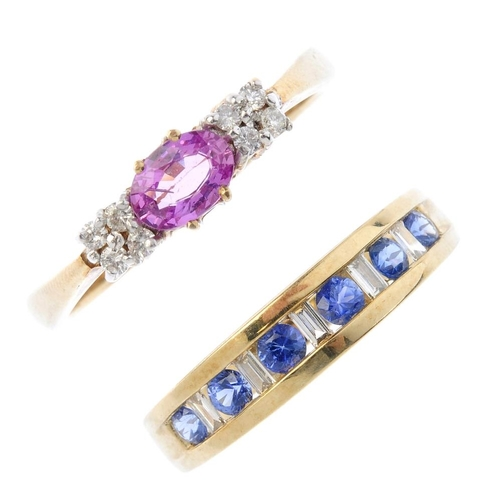 466 - Two 9ct gold sapphire and diamond rings. To include an oval-shape pink sapphire and brilliant-cut di...