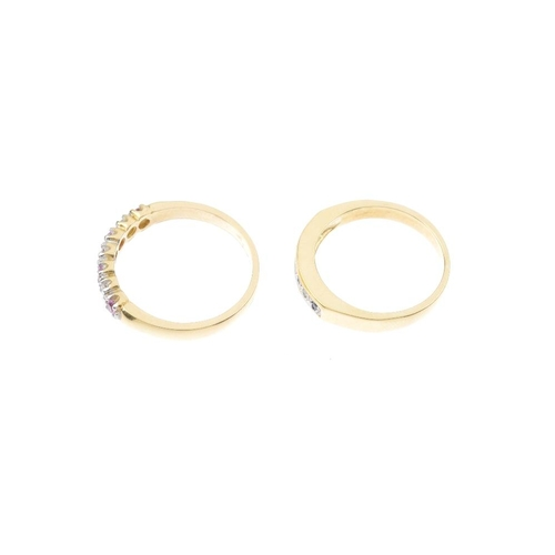 472 - Two 18ct gold diamond and gem-set rings. To include an alternating pink sapphire and diamond line ri...