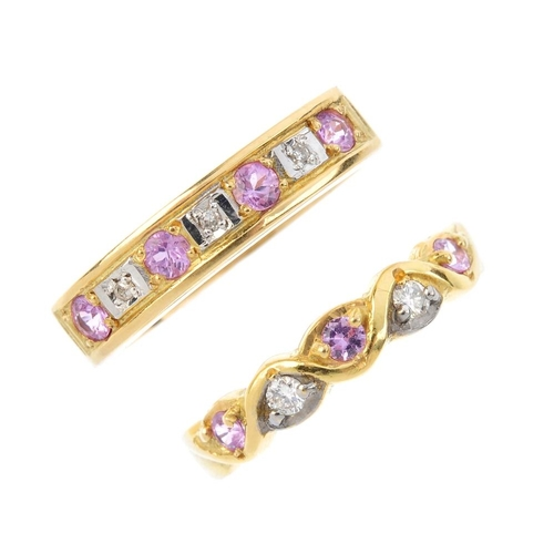 477 - Two 18ct gold diamond and gem-set rings. To include an alternating pink sapphire and diamond line ri...