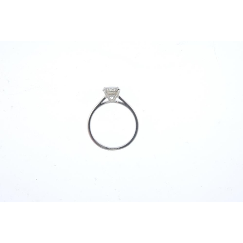 478 - A 9ct gold diamond single-stone ring. The brilliant-cut diamond, to the plain band. Estimated diamon...