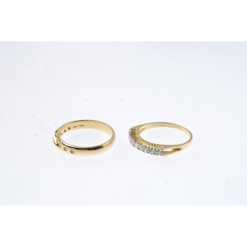 481 - Two 18ct gold diamond rings. To include a brilliant-cut diamond half-circle eternity ring with openw...