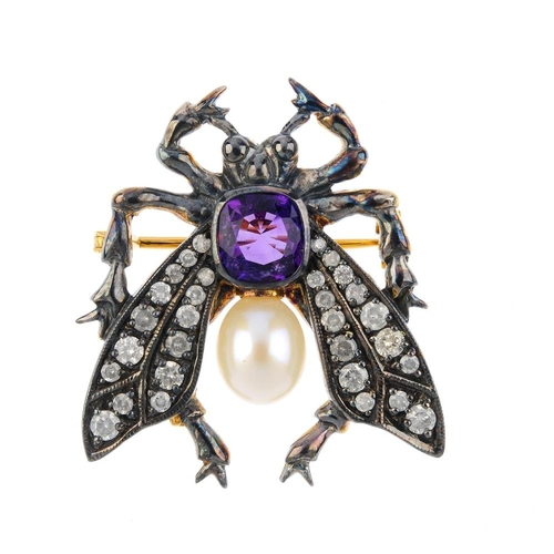 482 - A gem-set bug brooch. Designed as a cushion-shape amethyst, cultured pearl thorax, to brilliant-cut ...