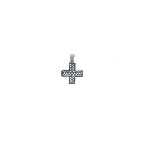 484 - A gem-set cross pendant. Designed as a pave-set colourless gem cross, with similarly-set sides. Ital...