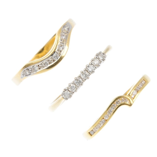 487 - Three 18ct gold diamond rings. To include two brilliant-cut diamond chevron rings, together with a s...