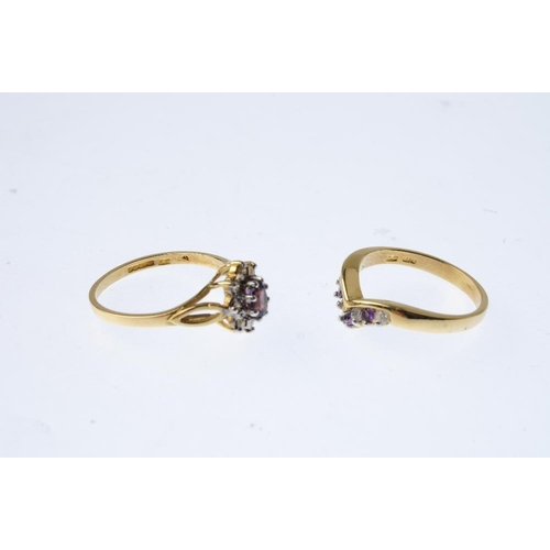 492 - Two 18ct gold diamond and amethyst rings. To include a cluster ring, together with a chevron ring. E...