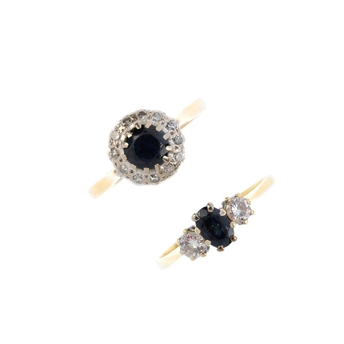 506 - Two 18ct gold sapphire and diamond rings. To include a mid 20th century circular-shape sapphire and ...