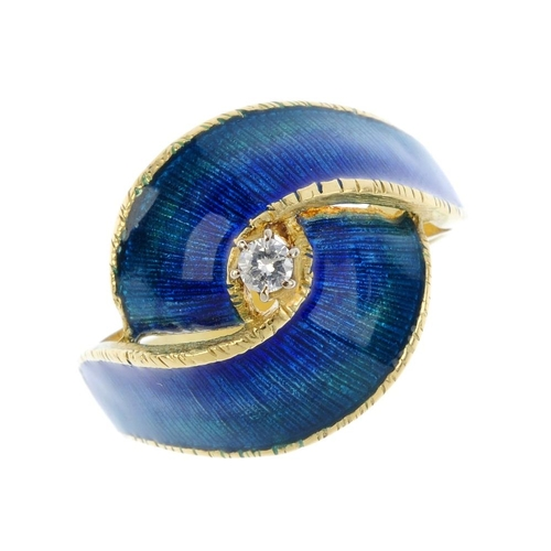 51 - A diamond and enamel dress ring. The brilliant-cut diamond, with blue and green enamel crossover sur...