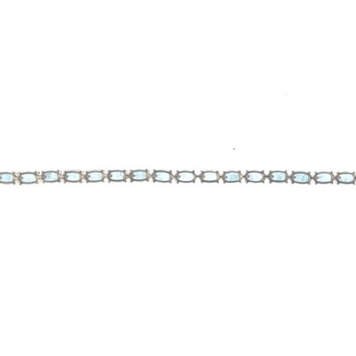 514 - A 9ct gold emerald bracelet. Designed as an oval-shape emerald line, with push-piece clasp. Hallmark...