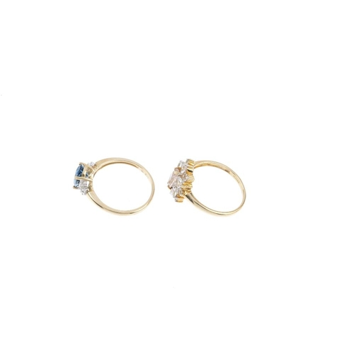 517 - Three 9ct gold gem-set rings. To include a topaz and diamond dress ring, a light pink and colourless...