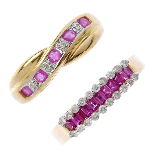 52 - Three 9ct gold ruby and diamond rings. To include a ruby and diamond triple line ring, an alternatin...