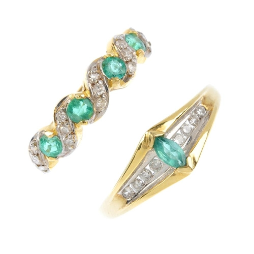 526 - Two 18ct gold emerald and diamond rings. To include a marquise-shape emerald and brilliant-cut diamo...