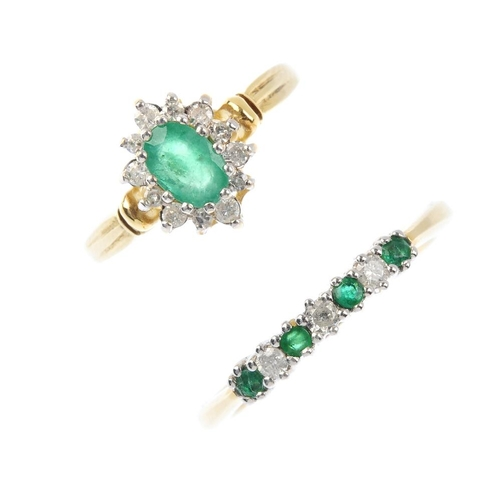 528 - Two 18ct gold emerald and diamond rings. To include a cluster ring, together with an alternating lin...