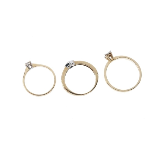 530 - Three 9ct gold diamond single-stone rings. Each designed as a brilliant-cut diamond, with varied mou...