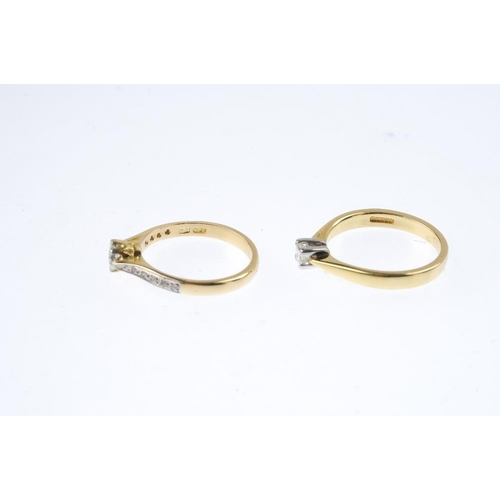 531 - Two 18ct gold diamond single-stone rings. To include a square-shape diamond ring, together with an i...