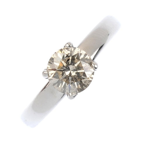 536 - A 14ct gold diamond single-stone ring. The brilliant-cut diamond, with plain band. Estimated diamond...