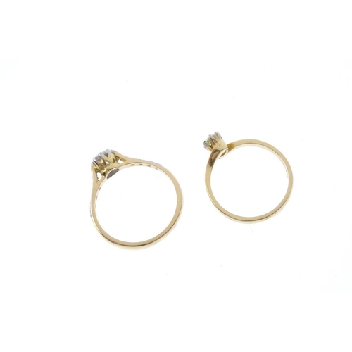 537 - Two 18ct gold diamond single-stone rings. To include a brilliant-cut diamond ring with crossover sho...