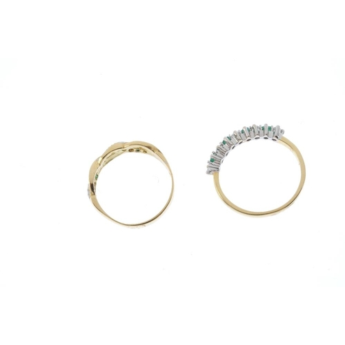 542 - Two 18ct gold emerald and diamond rings. To include an alternating half-circle eternity ring, togeth...