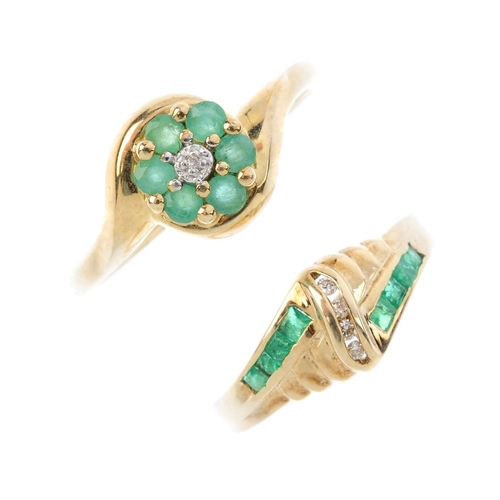 547 - Four 9ct gold emerald and diamond rings. To include an emerald and diamond cluster ring, an emerald ...