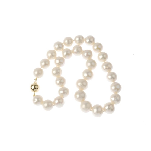 57 - A cultured pearl single-strand necklace. Comprising thirty cultured pearls, measuring approximately ...
