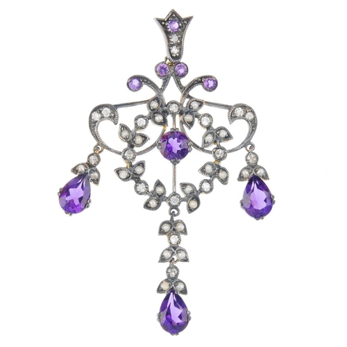 574 - An amethyst, split pearl and diamond pendant. The circular-shape amethyst, within a split pearl and ...