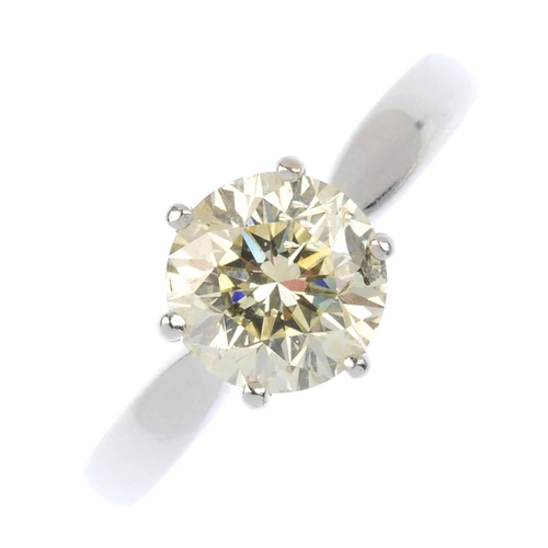 576 - An 18ct gold diamond single-stone ring. The brilliant-cut diamond, with tapered band. Estimated diam...