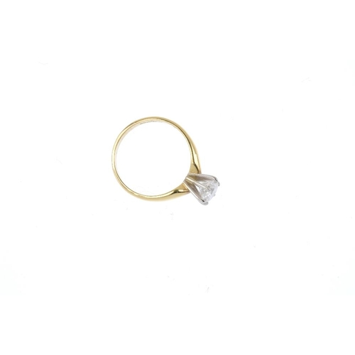 581 - An 18ct gold diamond single-stone ring. The brilliant-cut diamond, with plain band. Estimated diamon...