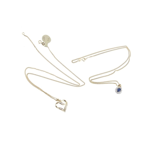 587 - A selection of jewellery. To include a sapphire and diamond cluster pendant, a diamond heart-shape p...