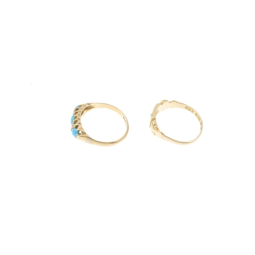 593 - Two late Victorian and early 20th century 18ct gold gem-set rings. To include an early 20th century ...