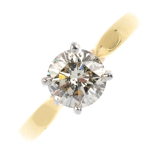 599 - An 18ct gold diamond single-stone ring. The brilliant-cut diamond, with plain band. Diamond weight 1...