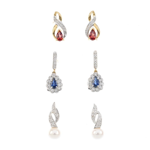 605 - Four pairs of gem-set earrings and a single diamond stud earring. To include a pair of freshwater cu...