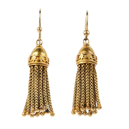 607 - A pair of late Victorian tassel earrings, circa 1880. Each tassel with overlaid scroll and rope-twis...