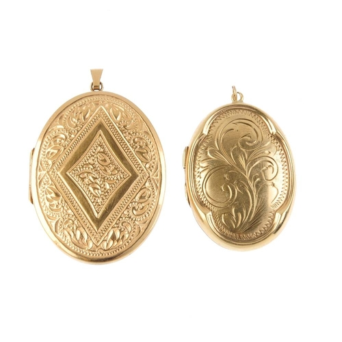 618 - Two 9ct gold lockets. To include a scroll engraved locket and a locket with central lozenge-shape pa...