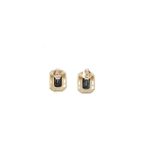 619 - A pair of 9ct gold sapphire and diamond cluster earrings. Each designed as a rectangular-shape sapph...