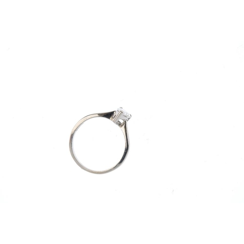 620 - An 18ct gold diamond single-stone ring. The pear-shape diamond, with tapered shoulders. Estimated di...