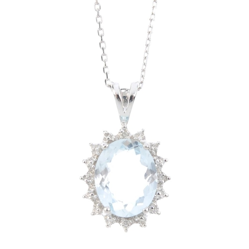 625 - A 9ct gold aquamarine and diamond pendant. The oval-shape aquamarine, within a single-cut diamond ac...
