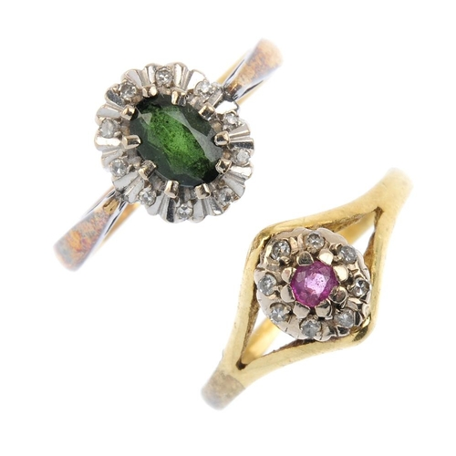 639 - Two diamond and gem-set cluster rings. To include a green sapphire and diamond cluster ring, togethe...