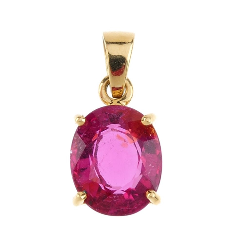 644 - A set of tourmaline jewellery. The pendant designed as an 18ct gold oval-shape pink tourmaline suspe...