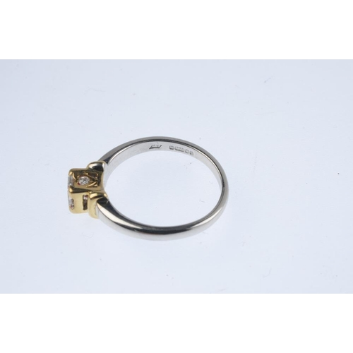 646 - An 18ct gold diamond single-stone ring. The brilliant-cut diamond, with bi-colour bar sides and diam...