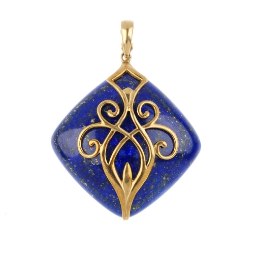 649 - Three pendants. To include a lozenge-shape lapis lazuli pendant with overlaid scroll detail and tape...